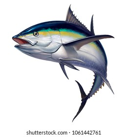 black fin tuna. Realistic isolated illustration.