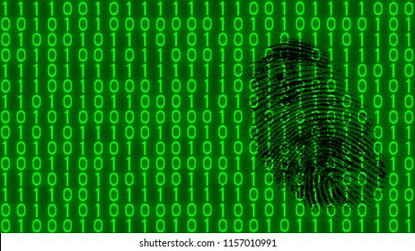 Black fingerprint on digital background of binary code pattern. Abstract texture of green 1 and 0 digits. Idea of digitization, software, AI. Concept of espionage, theft or sabotage in cyber space.