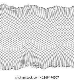 Black fisherman rope net texture isolated on white. Fisherman netting for hunting, fiber surface illustration