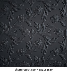 black floral background, embossed flowers pattern, abstract 3d textured paper