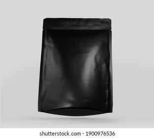 Black Foil plastic pouch coffee bag, 3d rendering isolated on light background. Packaging template mockup, Aluminium coffee or juice package.