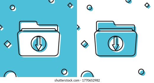 Black Folder download icon isolated on blue and white background. Random dynamic shapes