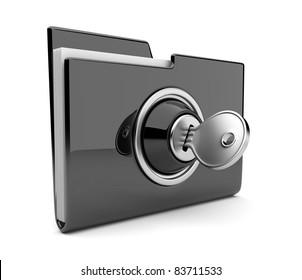 Black folder and lock. Data security concept. 3D