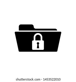 Black Folder and lock icon isolated. Closed folder and padlock. Security, safety, protection concept
