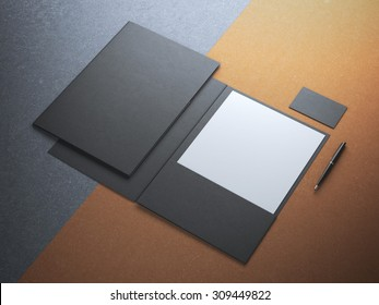 Black folder with white paper sheet