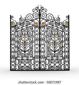 Black forged gate with gold flowers on white background