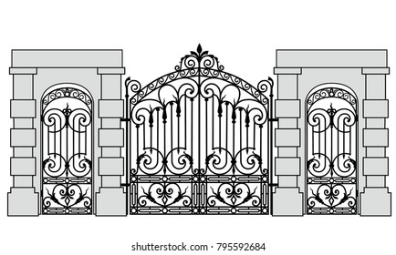 Black forged gate and wickets on a white background
