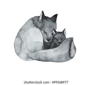 Black Fox and the baby-watercolor technique. Forest animals. Hand painted realistic illustration isolated on white background. Mother's Day card handmade.