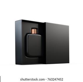 Black fragrance perfume bottle mockup in open box. Isolated on white. 3d render.