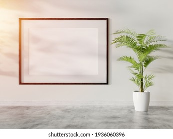 Black frame hanging in bright interior mockup. Template of a picture framed on a wall bathed with sunlight 3D rendering