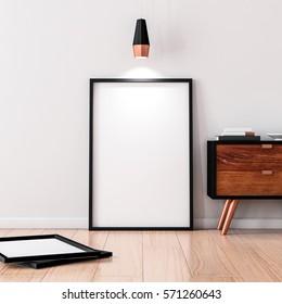 Black Frame Poster Mockup standing on the wooden floor. 3d rendering
