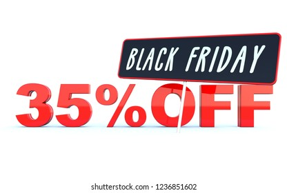 Black Friday 35 percent off discount - glossy red text on white background wide banner 3D render