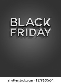 Black Friday 3D Text on Dark Background,