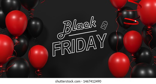 Black Friday background. Neon sign. Dark background with red and black balloons for discount offer. Black Friday Sale Horizontal Banners. Black friday sale banner. 3d visualization