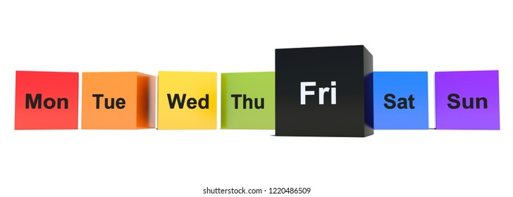 Black Friday between colored week days cubes 3D render