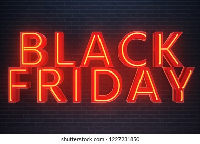 Black Friday - Friday with a big sale. Sales, joy, success Neon Red banner, discounts, 3D illustration