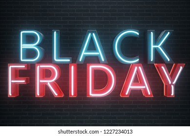 Black Friday - Friday with a big sale. Sales, joy, success. Blue and Red Glow Neon banner, discounts. 3D illustration