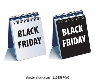 Black Friday calendar. Realistic 3d illustration