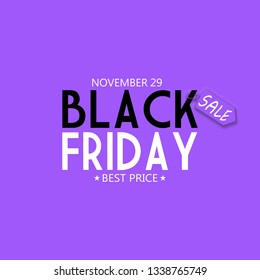 Black Friday font with Lilac price tag for the 29th of November 2019 on Lilac Background.