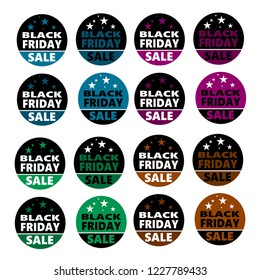 Black Friday iilustration set in circular button style includes black, blue, green, purple and bronze with stars