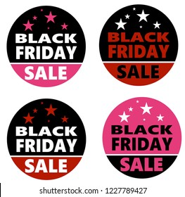 Black Friday illustration set in circular button style includes black red and pink with stars