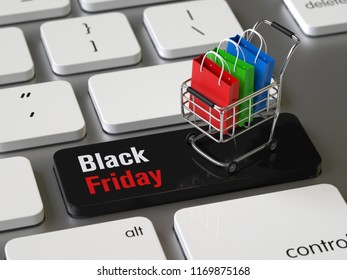 Black Friday key on the keyboard, 3d rendering,conceptual image