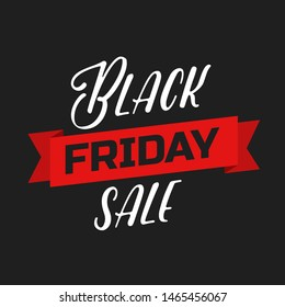 Black Friday lettering sign and logo. Text composition on black background