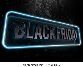 Black friday metallic text surrounded by a blue neon border 3D render