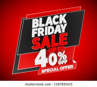 Black friday sale up to 40 % off special offer, 3d rendering