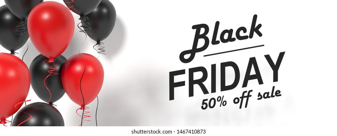 Black friday sale background with balloons and serpentine. Black friday sale banner with black and red helium balloons. 3d visualization. Black Friday Sale Horizontal Banners. Friday sale flyer