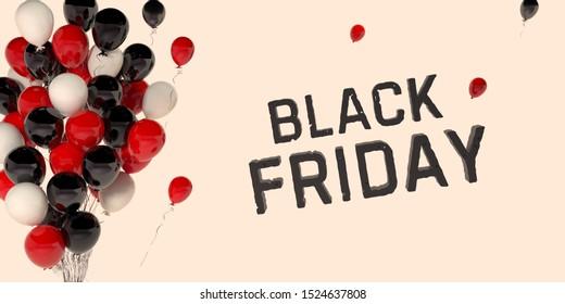 Black friday sale background with balloons. Black friday sale banner with black and red helium balloons. Modern design. 3d visualization. Black Friday Sale, Horizontal Banners. Friday sale flyer