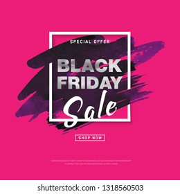 Black Friday Sale banner with watercolor stroke for trendy abstract cover. Banner with editable space for holiday discounts, sales. Futuristic design poster for business promotion, advertising.