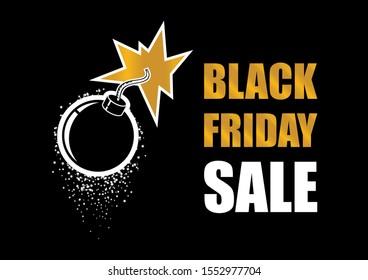 Black Friday Sale Bomb illustration. Black Friday explosion illustration. Bomb explosion icon. Golden bomb on a dark background. Label for Black Friday. Black Friday Wholesale Bomb Poster