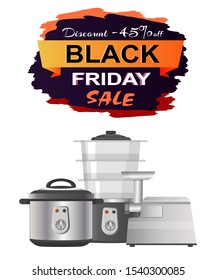 Black Friday sale clearance on white background. raster illustration with discount promotion on meat grinder, multivariate and streamer promo poster