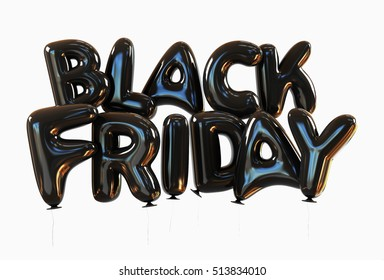 Black Friday Sale Concept. Helium Balloons with glossy reflections isolated. 3d rendering on White Background