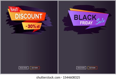 Black Friday sale and discount web pages showing information placed below images, buttons at bottom of them raster illustration isolated on dark