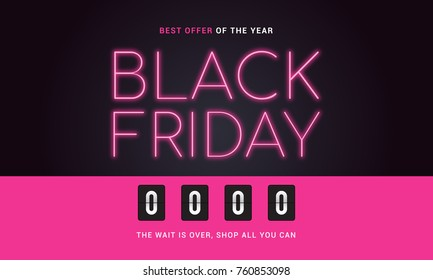 Black Friday Sale illustration, Neon lights text with countdown timer