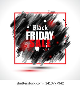 Black Friday sale illustration on abstract ink black blots. Black Friday template for your banner or poster. Sale and discount.