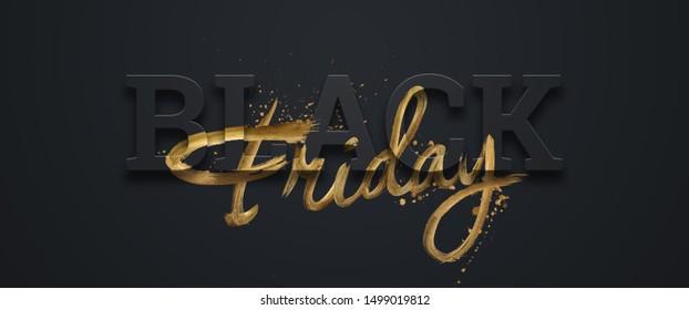 Black friday sale inscription gold letters on a black background, horizontal banner, design template. Copy space, creative background. 3D illustration, 3D design