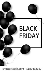 Black Friday Sale Poster with black balloons on white background with square frame. Illustration.