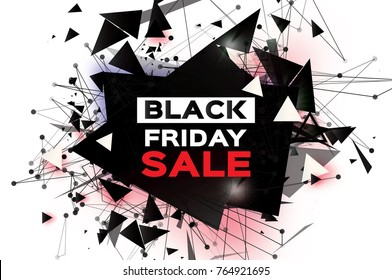 Black Friday Sale. Realistic fiery explosion. Big Sale. Discount. Trendy Geometric elemets and frame in paper cut style. For brochure, flyer. Simple geometry. White background.  illustration.