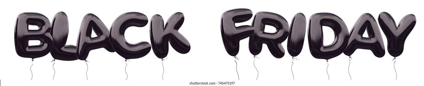 Black friday sale, shopping promotion. Illustration design made of 3d black balloon wording Black Friday with clipping ready to use. Unique selling promotion campaign for your ad, poster, banner, sale