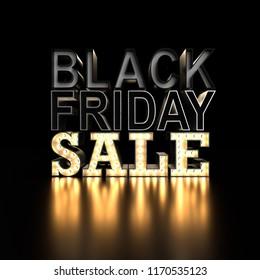 Black Friday SALE sign on black background. 3d typography SALE. 3d render illustration