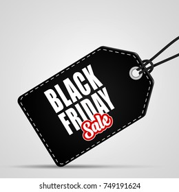 Black Friday sales tag on white background