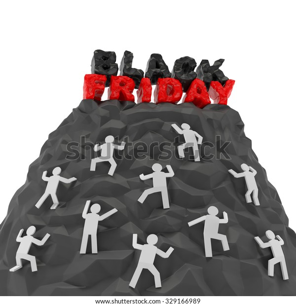Black Friday (shopping discount creative concept). Shoppers (customers) climb up a hill of mountain to words as symbol of agiotage, higher demand, panic buying