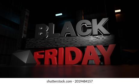 Black Friday Super Sale Promotion Background 3d Render. Discount Offer Banner