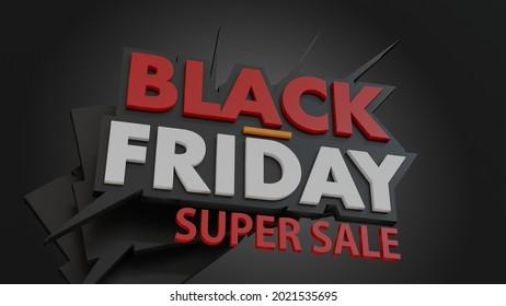 Black Friday Super Sale Promotional  Banner. 3d Rendered Poster.