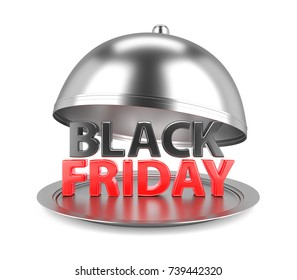 Black Friday Text on Reataurant Cloche with open Lid. 3D Illustration