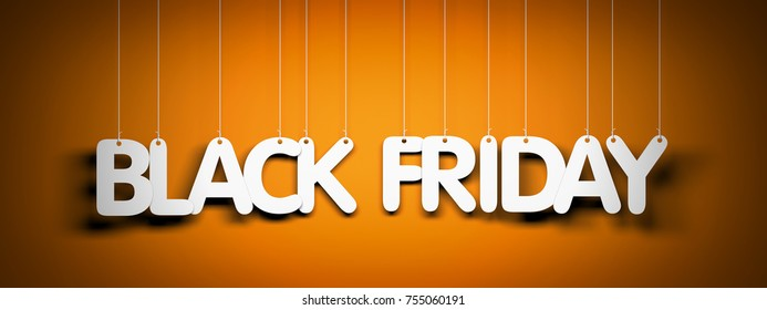Black Friday - white words on orange background. 3d illustration