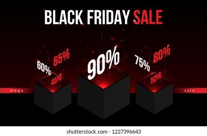 Black Friday,modern isometric abstract illustration,web online, landing page,shopping bargain sales concept.Isometrics abstraction cubes with numbers of discount percents Mega Sale